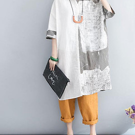 Plus Size dress - women Oversized Loose linen Top Women Clothing White shirt dress Plus Size dress