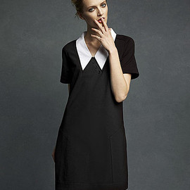 Karl Lagerfeld for Impulse Dress - Short Sleeve Stretch Popline Contrast Collar Shift