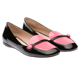 miu miu - Two-tone patent leather ballerina with button band detail