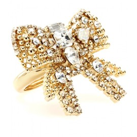 miu miu - CRYSTAL BEAD EMBELLISHED BOW RING
