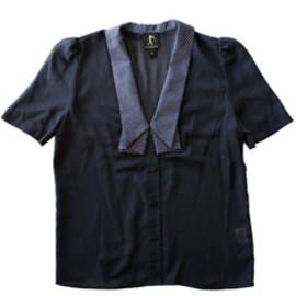 karen walker - Deep V Folded Collar Shirt (navy)