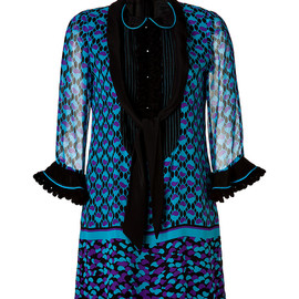 ANNA SUI - Ying Yang Border Print Dress in Violet Multi