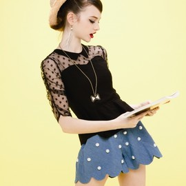 Honey mi Honey - Dot Tulle Peplum Blouse