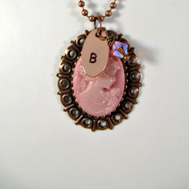 Luulla - Hand stamped pink cameo initial necklace, personalized, romantic jewelry, Mother's Day