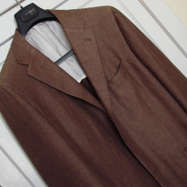 Kiton - brown solid cashmere and linen jacket