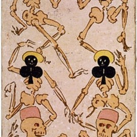 Dancing bones six of clubs playing card, late 19th c
