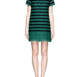 sacai luck - Colour block stripe floral lace dress