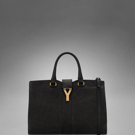 YVES SAINT-LAURENT - Small YSL Cabas Chyc with Strap in Black Leather