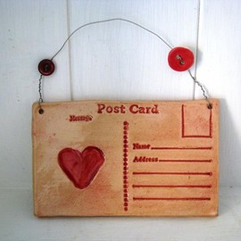 Luulla - Ceramic Heart Postcard. Lightly glazed in red. Made in Wales, UK, Handmade. Ready to ship.