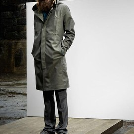 Norwegian Rain - SINGLE BREASTED RAINCOAT OLIVE GREEN HERRINGBONE