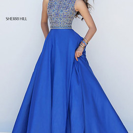long prom dresses 2017 - High Neckline Beaded Patterned Cutout Royal Satin Long A Line Evening Dresses 2016