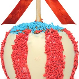 Amy's Product Description - Red, White and Blue Caramel Apple w/ White Belgian Chocolate