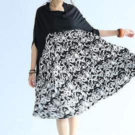 sundress - Black large size summer dress cloak Oversize printing sundress