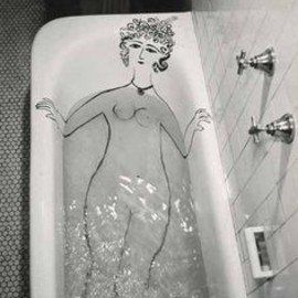 Saul Steinberg. - Girl in Bathtub, 1949.