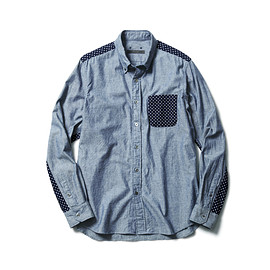 SOPHNET. - INDIGO CHAMBRAY PANEL B.D SHIRT