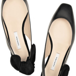 Carven - Bow-detailed flat leather and suede slingbacks