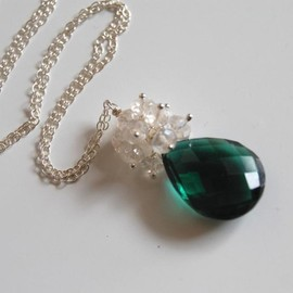 Luulla - AAA Chrome green quartz and rock crystal necklace