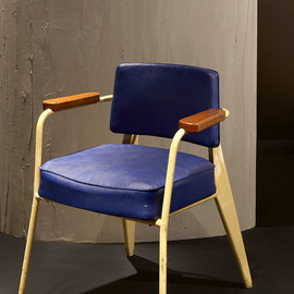 "Jean Prouve - Yellow & Blue ""Direction"" armchair, ca1950"