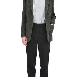 MARGARET HOWELL - Soft lambswool twill cardigan jacket, tiny grid tuck front shirt and more