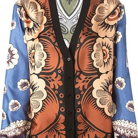 VALENTINO - SS2015 Multicoloured silk printed cardigan