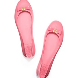 TORY BURCH - jelly BOW BALLET FLAT * RASPBERRY SORBET *