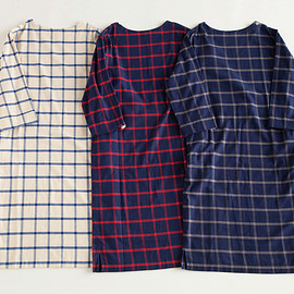 "NOWHAW - ""wok"" op pajama #white×blue / #navy×red / #navy×gray ウィンドウペンチェック/ パジャマ"