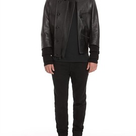 Alexander Wang - Shiny Textured Leather Moto Jacket Thumb