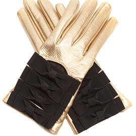 GUCCI - Bow-detail leather gloves