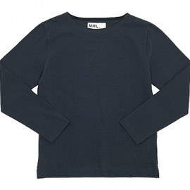 MHL. - MHL. DRY COTTON JERSEY L/S T-SHIRTS 120NAVY〔メンズ〕
