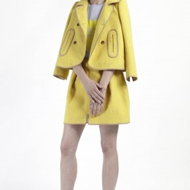 CARVEN - lemon tweed jacket and skirt