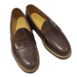 OLD PORT MOCCASIN - PENNY LOAFER w/CREPE SOLE  BROWN SCOTCH GRAIN
