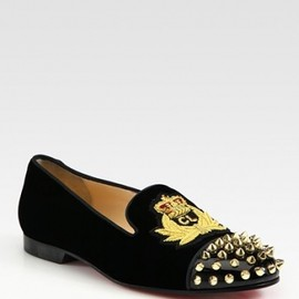 Christian Louboutin - Studded Velvet and Patent Leather Loafers