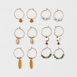 H&M - Gold / Dark Green // Hoop Pierced Earring 6 pair Set