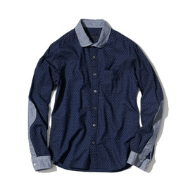 SOPHNET. - DOT CHAMBRAY ROUND COLLAR SHIRT
