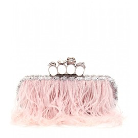 Alexander McQueen - SKULL KNUCKLE CRYSTAL BEAD AND FEATHER EMBELLISHED BAGUETTE CLUTCH
