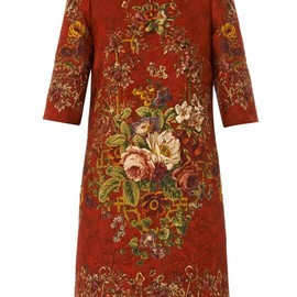 DOLCE&GABBANA - FW2014 KEYS & FLORAL SILK BLEND BROCADE DRESS