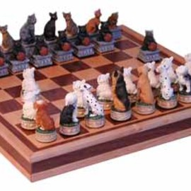 buy-chess-sets.co.uk - cats and dogs chess set
