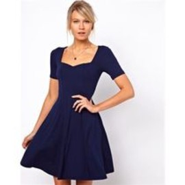 asos - ASOS♪エイソス Skater Dress Sweetheart Neck Short Sleeves