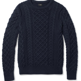 J.CREW - J.Crew Cable-Knit Cotton Crew Neck Sweater