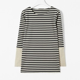 COS - LEATHER CUFF STRIPED TOP