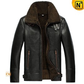 CWMALLS - Black B-3 Sheepskin Leather Bomber Jacket CW856135