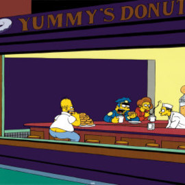 The Simpsons - Nighthawks Parody Poster