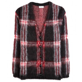 Saint Laurent Paris - MOHAIR-BLEND PLAID CARDIGAN