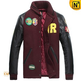 CWMALLS - Leather Sleeve Baseball Jacket for Men CW850339
