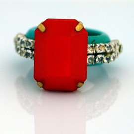 KomicJewelry - Red Opaque Crystal Ring