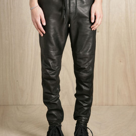 SUN SEA - Cowhide Leather Tapered Pants