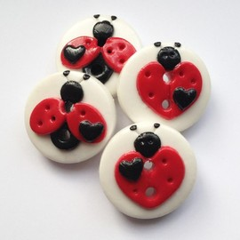 Luulla - Love Ladybugs - set of 4 polymer clay buttons