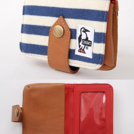 CHUMS - Card Case Sweat Leather・Navy/Natural