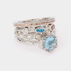 White Gold & Blue Cubic Zirconia Stackable Ring