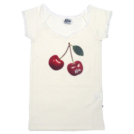 Katie - CHERRY LOVERS french sleeve tee white